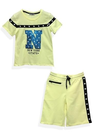 Little Star Little Star Erkek Çocuk Newyork Pullu Bermuda Takım Sarı